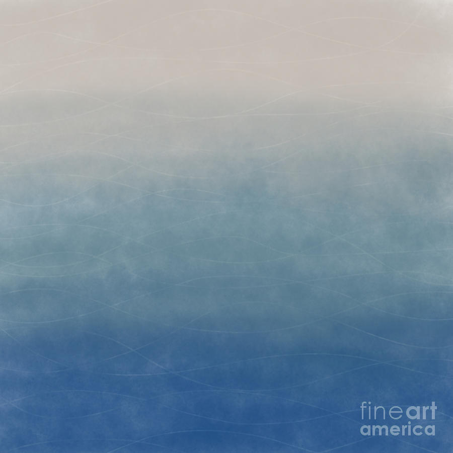 Blue Digital Art - Blue Ombre Abstract With Waves by LJ Knight