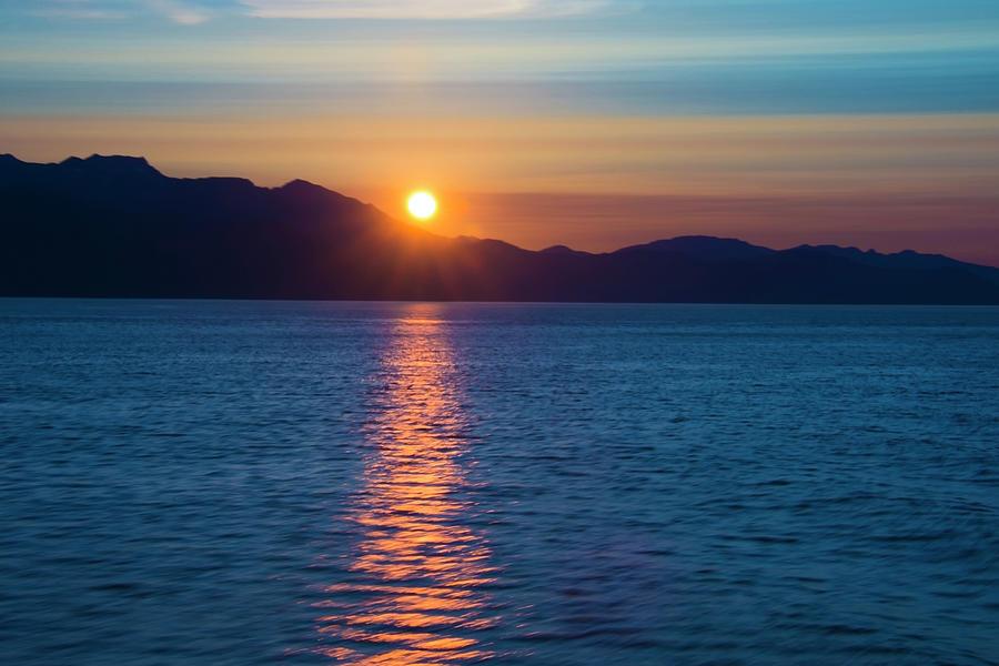 Blue Orange Sunset Inside Passage Alaska by Yulia Kazansky