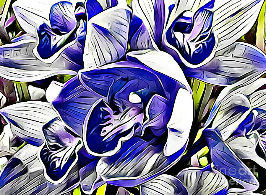 Blue Orchid Abstract by Trudee Hunter