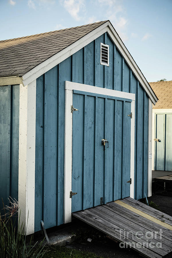 Cape Cod Photograph - Blue Painted Boat House by Edward Fielding