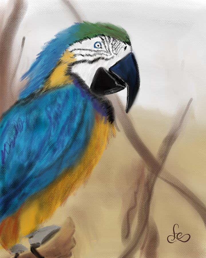 Parrot Digital Art - Blue Parrot by Fe Jones