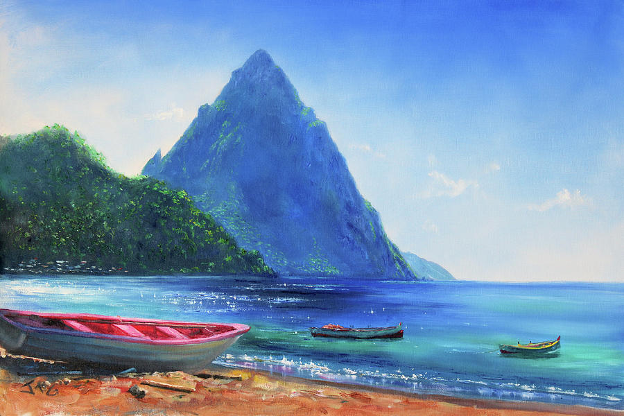 Caribbean Painting - Blue Piton by Jonathan Guy-Gladding JAG