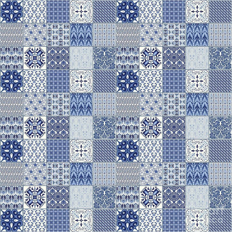 Quilt Painting - Blue Qulit Blocks by Jean Plout