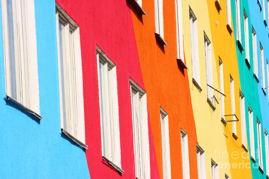 Small Photograph - Blue, Red, Green, Orange Homes by Kochergin