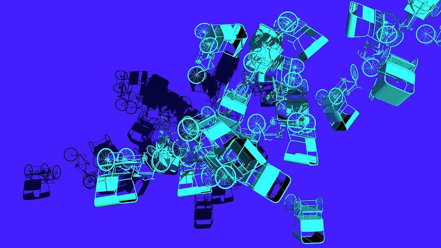 Blue Rickshaws Flying by Heike Remy