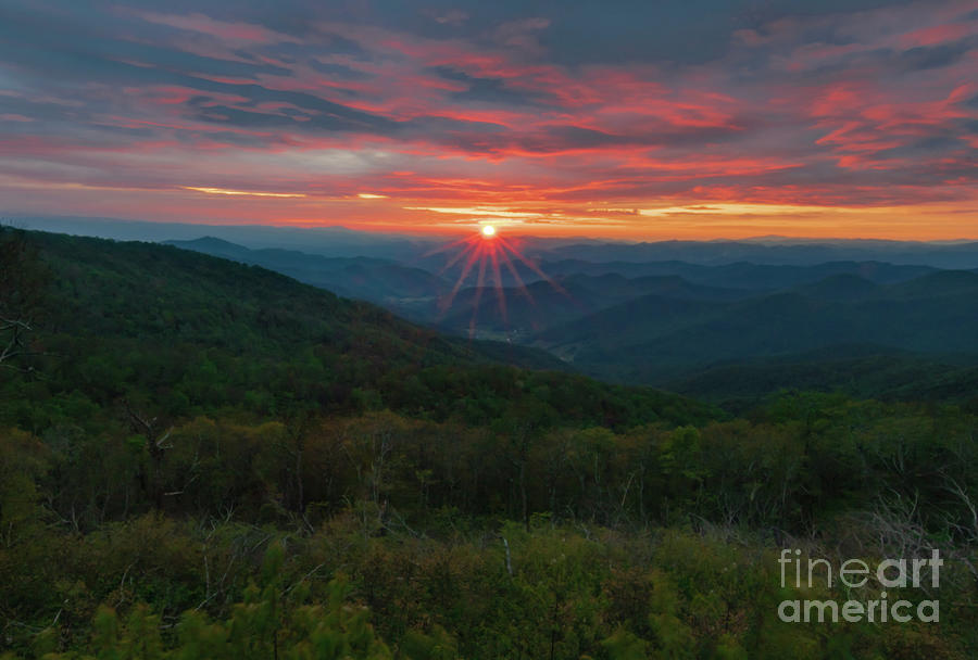 Blue Ridge Layered Sunset Photograph