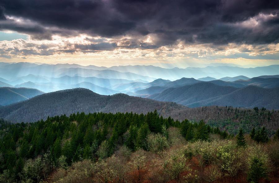 Blue Ridge Mountains Asheville Nc Scenic Light Rays Landscape Photography