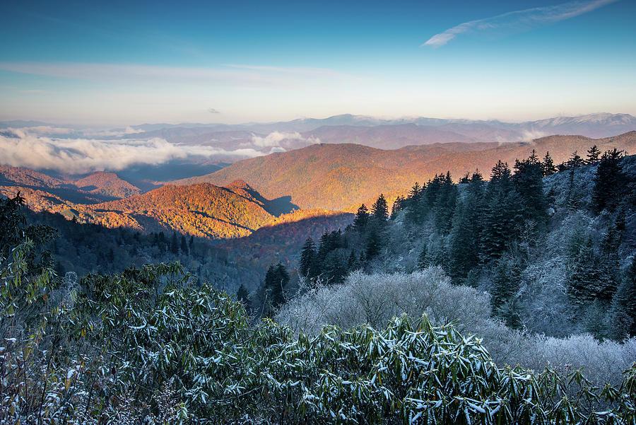 Landscape Photograph - Blue Ridge Parkway Asheville Nc Seasons Mingle by Robert Stephens