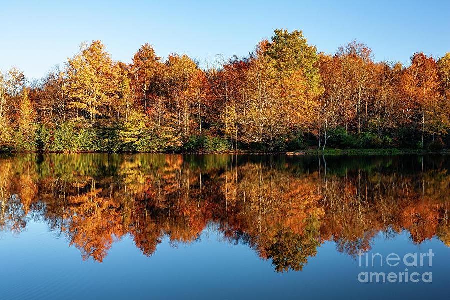 North Carolina Photograph - Blue Ridge Parkway Autumn Mirror Image by Dan Carmichael