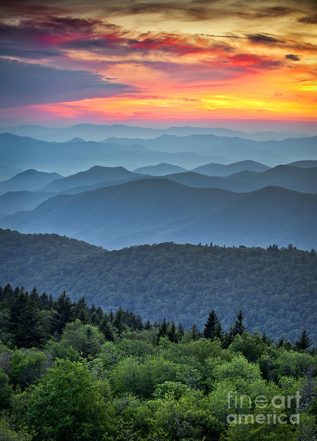 Sunrise Photograph - Blue Ridge Parkway Scenic Landscape by Dave Allen Photography