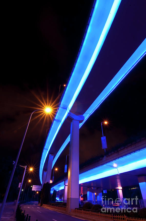 Street Photograph - Blue Road At Night by Delphimages Photo Creations
