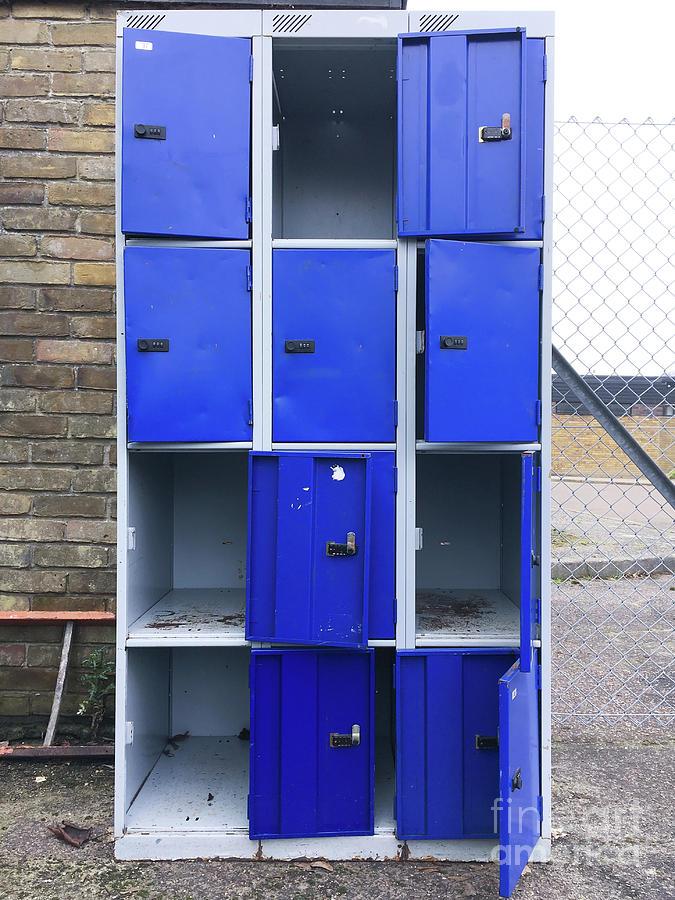 Abandoned Photograph - Blue School Lockers by Tom Gowanlock