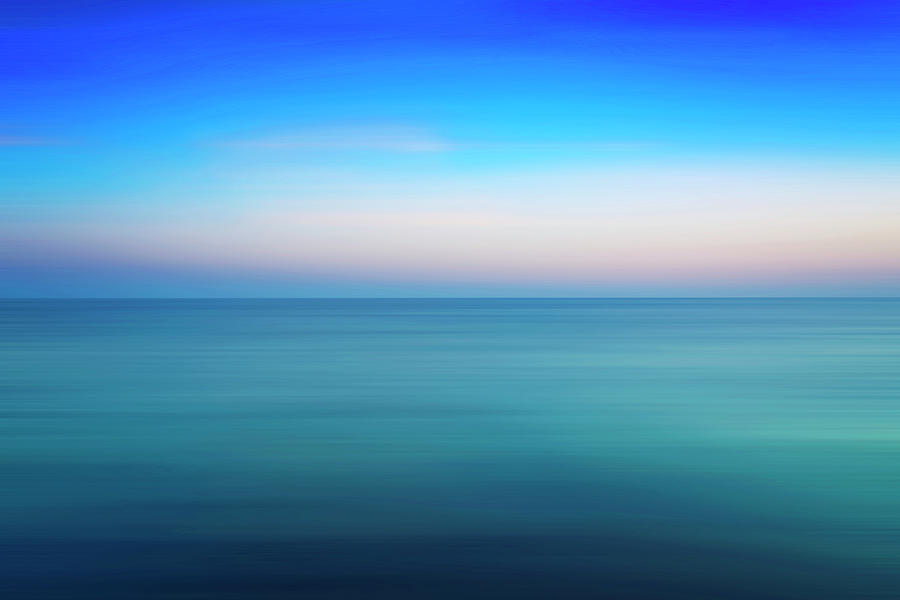 Abstract Photograph - Blue Sea At Sundown by Vicente Sargues
