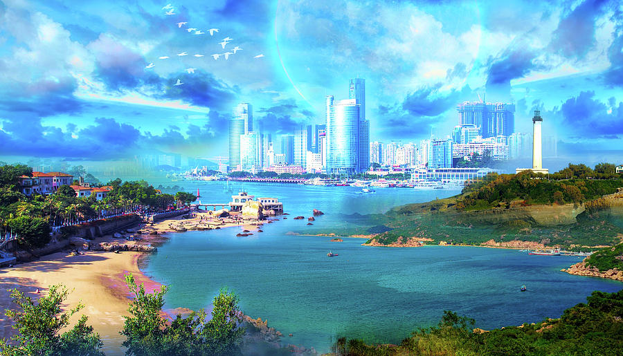 Landscape Digital Art - Blue Shining City by Jasmina Seidl