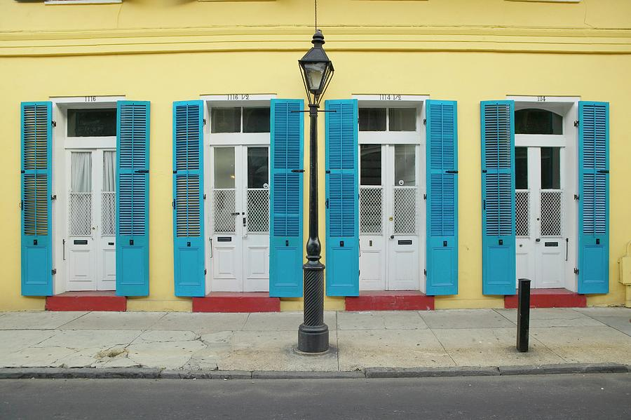 Blue Shutter And Lamp Post In French Photograph by Visionsofamerica/joe Sohm