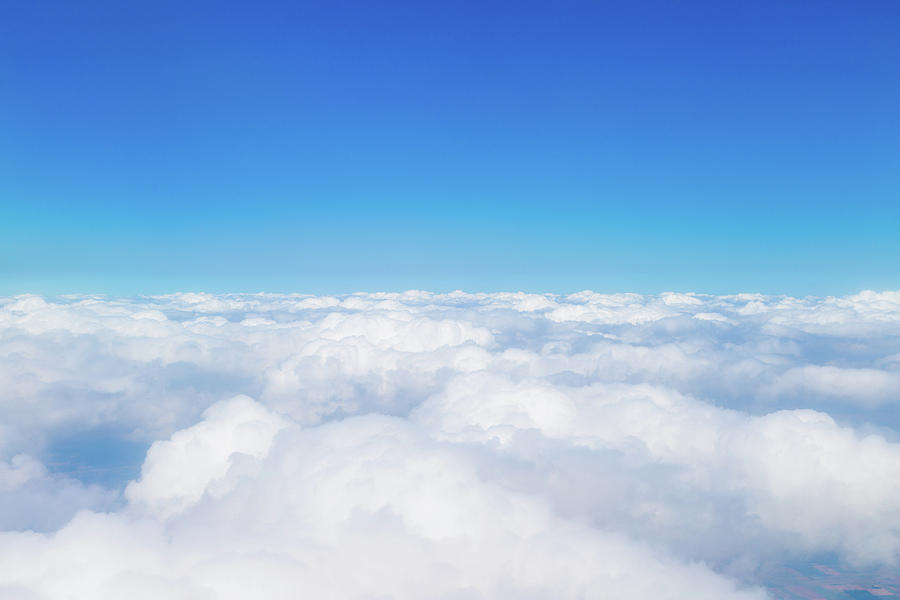 Sky Photograph - Blue Sky With White Clouds, Aerial Photography by George Tsartsianidis