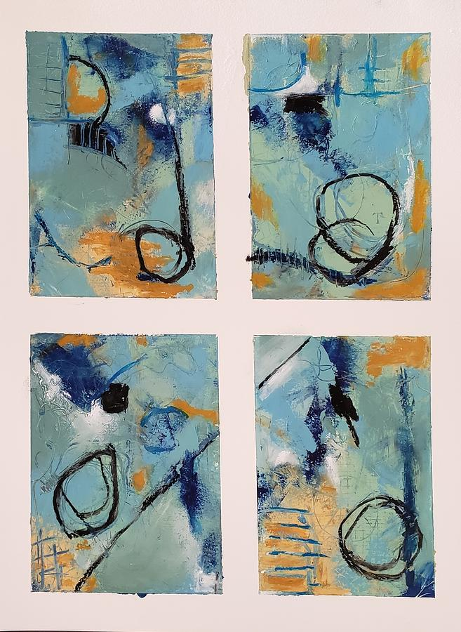 Blue Study X 4 Painting by Ellen Kirwan