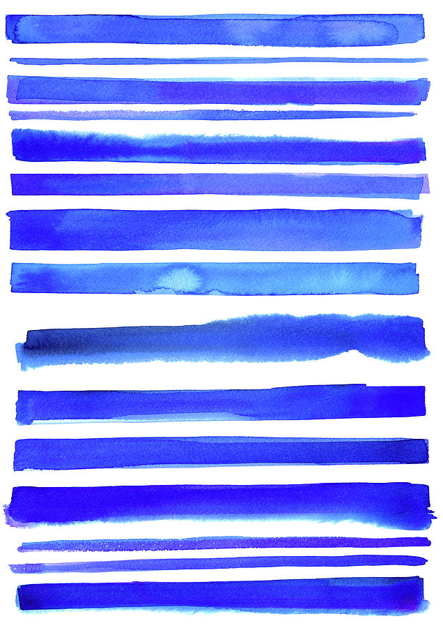 Blue Textured Stripes Digital Art by Johnwoodcock