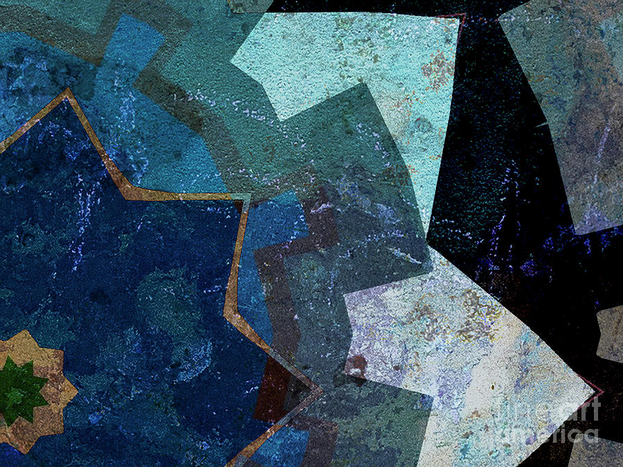 Blue Toned Textured Points Abstract by Dee Flouton