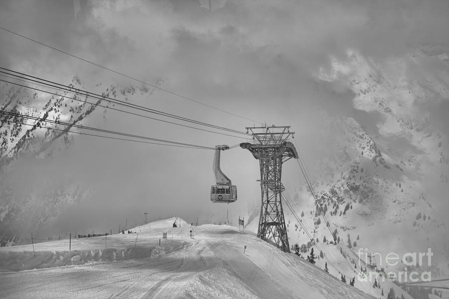 Blue Tram Cat In The Clouds Black And White by Adam Jewell