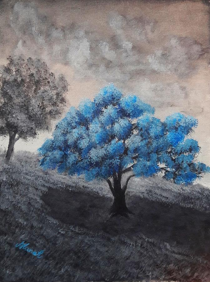 Tree Painting - Blue Tree by Manar Hawsawi