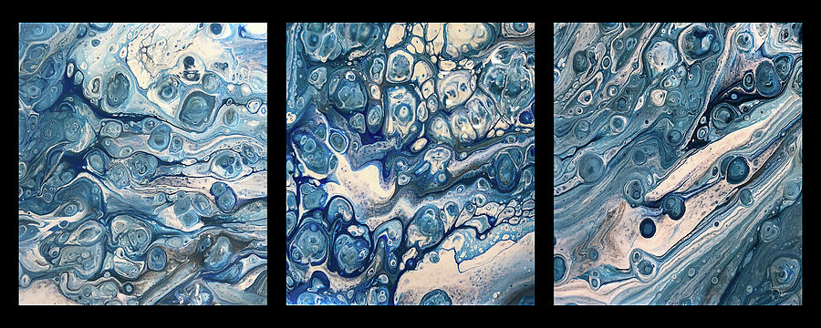 Acrylic Painting - Blue Triptych on Black by Teresa Wilson by Teresa Wilson