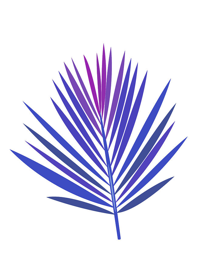 Leaf Mixed Media - Blue Tropical Leaf I by Naxart Studio