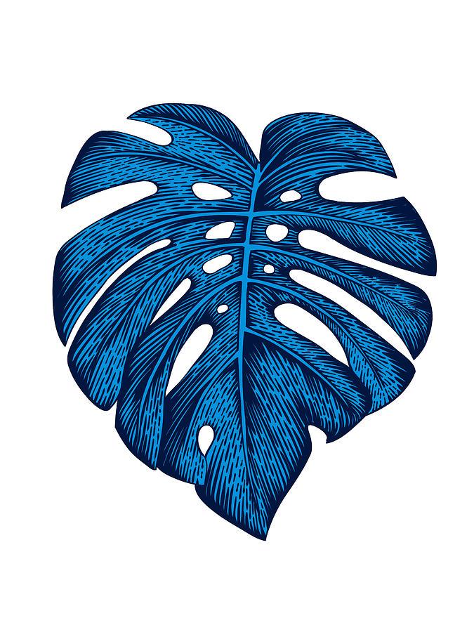 Leaf Mixed Media - Blue Tropical Leaf by Naxart Studio