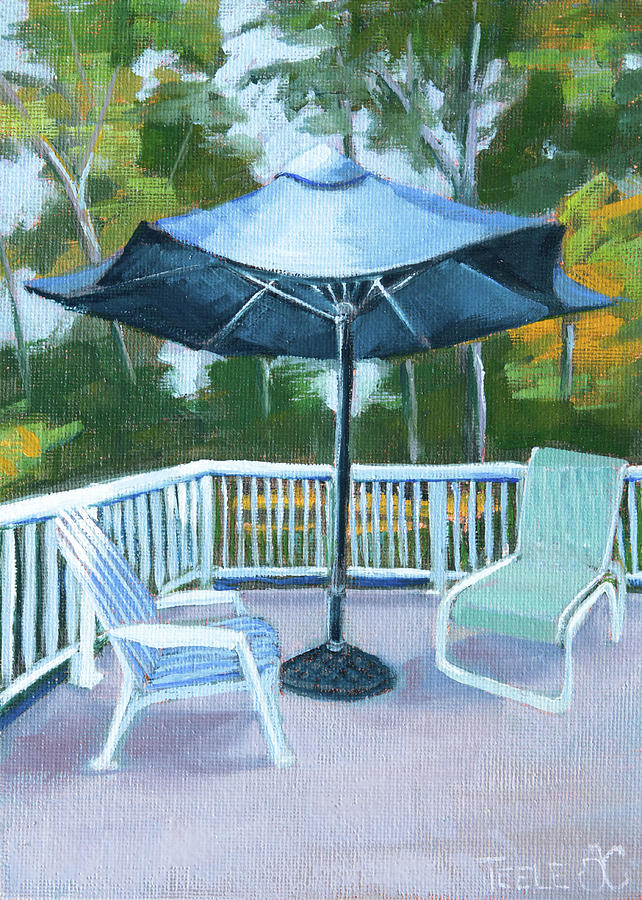Blue Umbrella on the Deck by Trina Teele