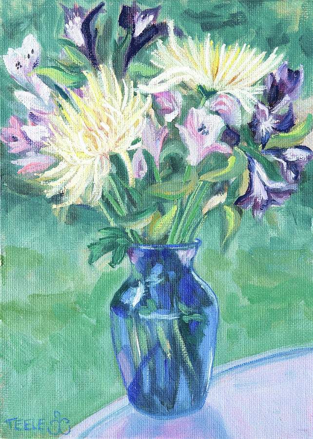 Blue Vase and Cut Flowers by Trina Teele