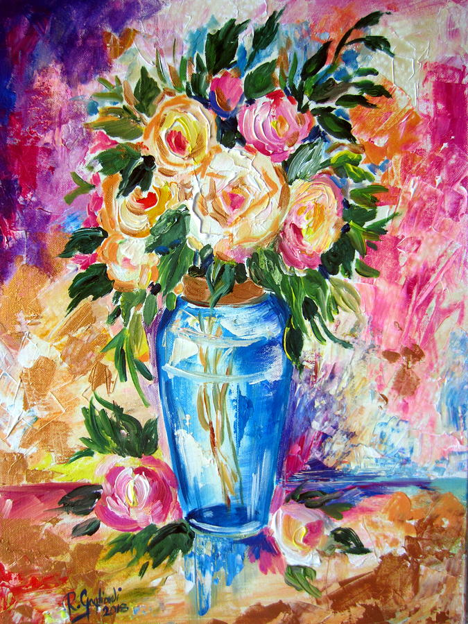 Blue Vase and Roses by Roberto Gagliardi