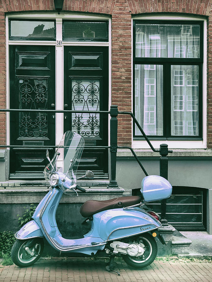 Blue Vespa in Amsterdam by Georgia Fowler
