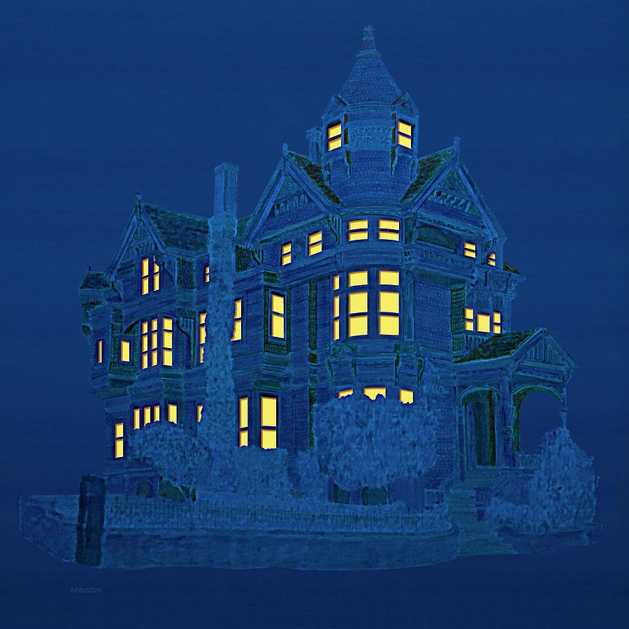 Blue Victorian Mansion by David Arrigoni