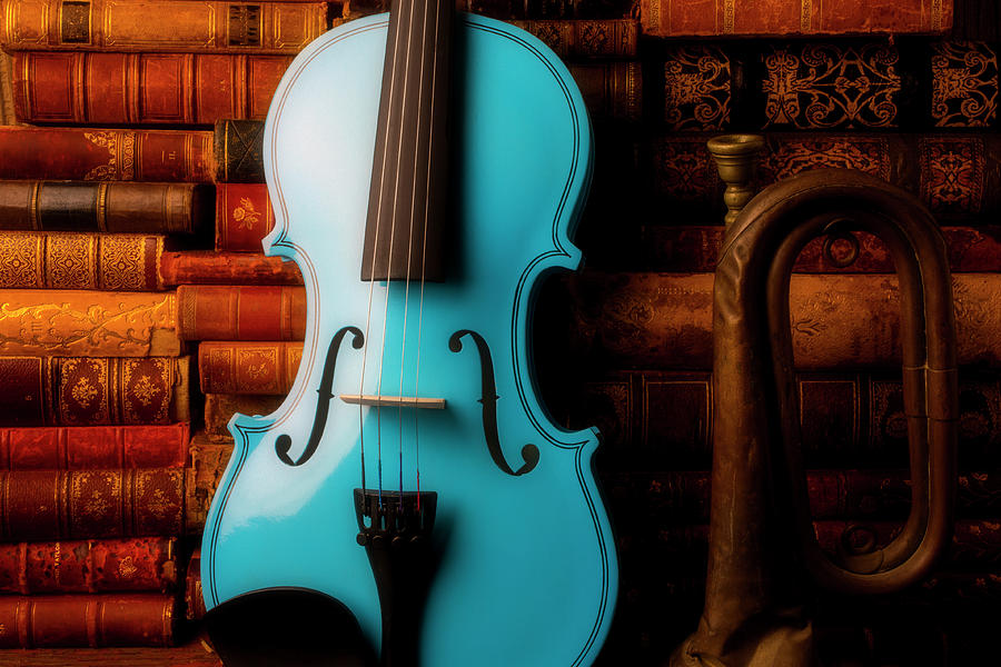 Book Photograph - Blue Violin And Old Books by Garry Gay
