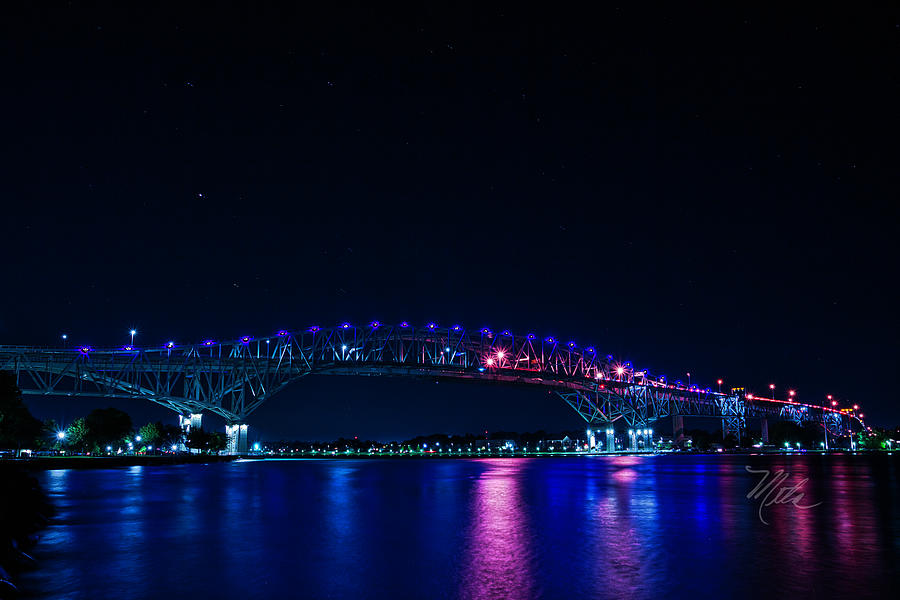 Blue Water Bridge Night by Meta Gatschenberger
