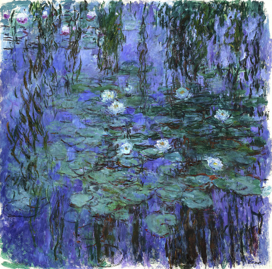 Claude Monet Painting - Blue Water Lilies - Digital Remastered Edition by Claude Monet