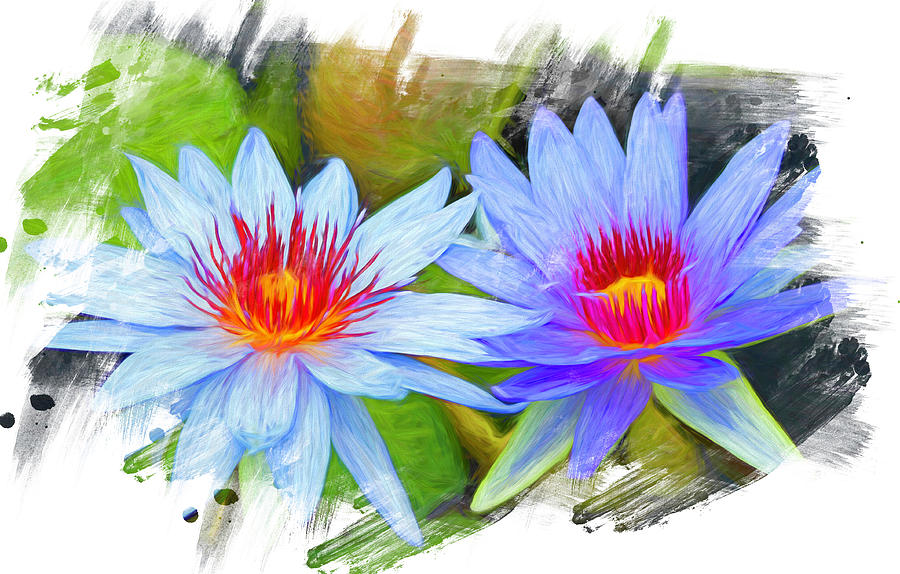 Blue Water Lilies Painted 2 by Judy Vincent