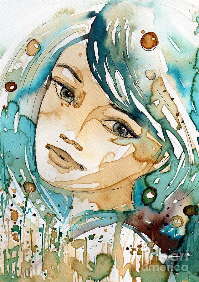 blue watercolor girl by Katarzyna Bruniewska-Gierczak