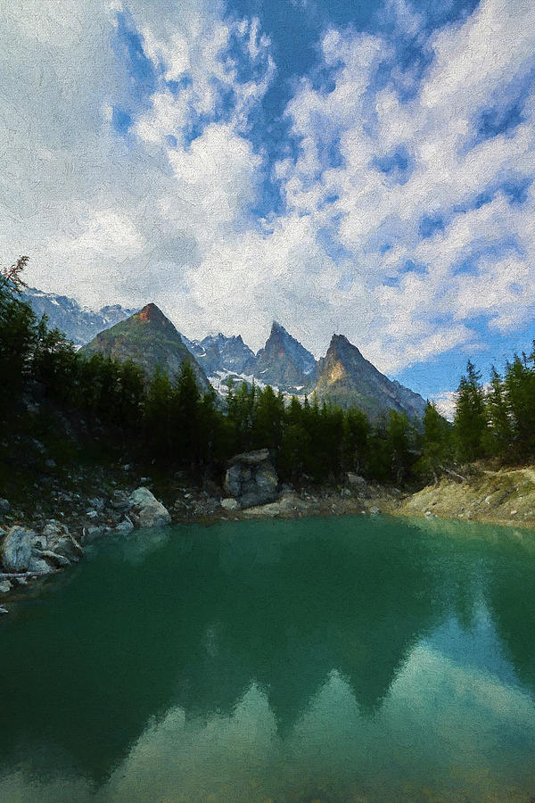 Courmayeur Digital Art - Blue Waters Of The French Alps II by Jon Glaser
