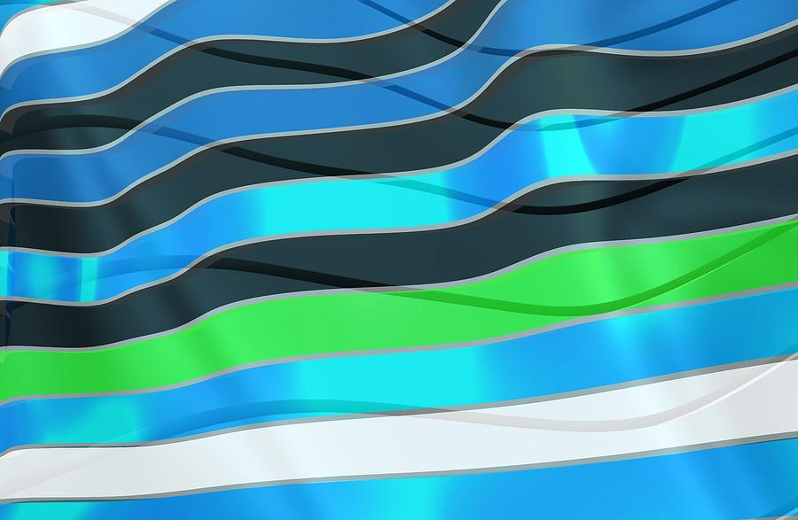 Blue Waves Fashion Digital Art