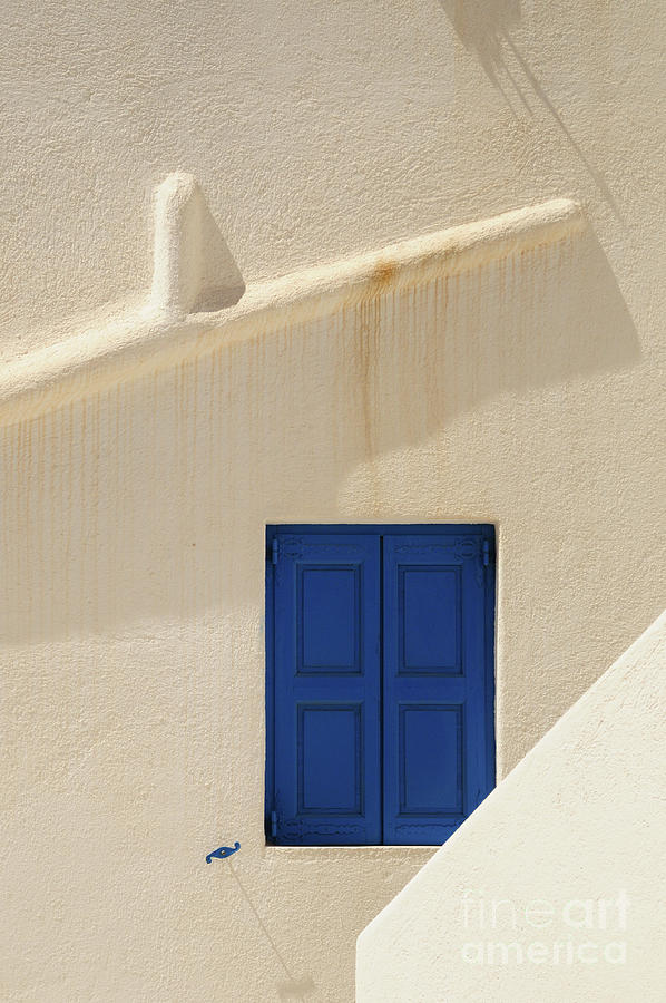 Blue Window On White Wall Photograph by Sergio Amiti