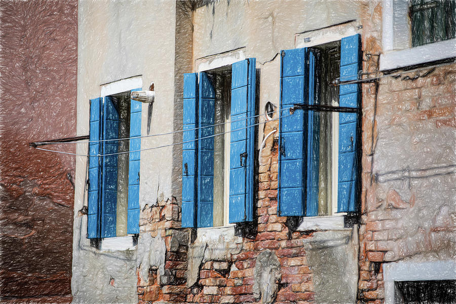 Blue Window Shutters of Venice by David Letts
