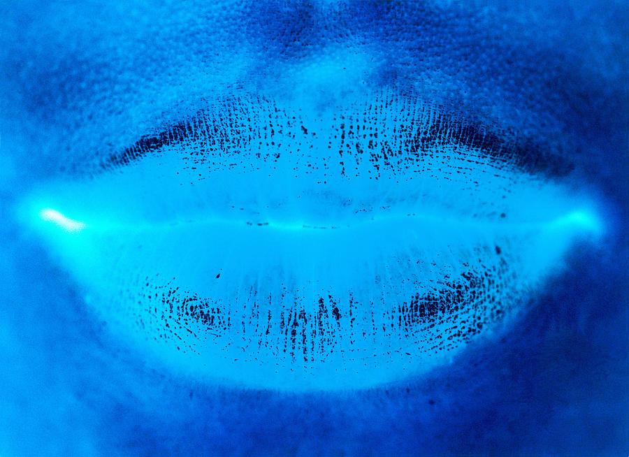 Blue Womans Lips Photograph by Ade Groom