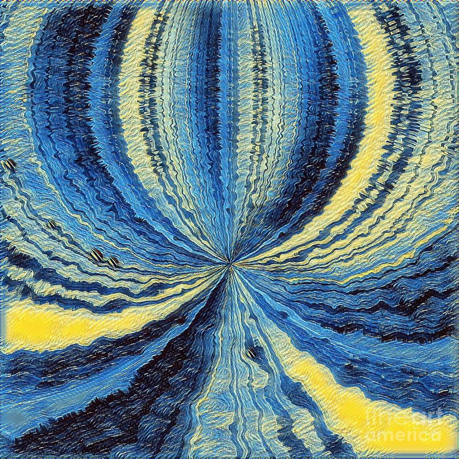 Blue Yellow Fluid Art by Jenny Revitz Soper