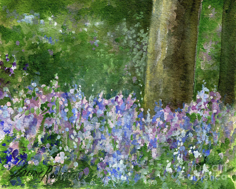 Bluebells Under the Trees by Laurie Rohner
