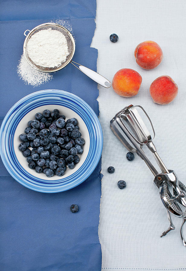 Blueberries, Peaches, Flour Photograph by Yelena Strokin