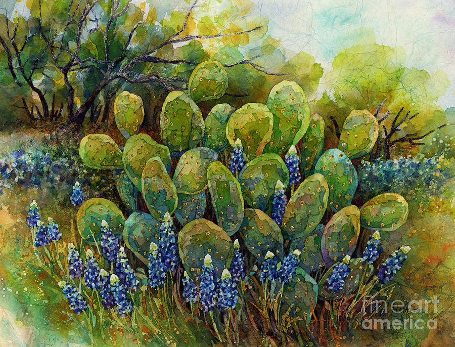 Bluebonnets And Cactus 2 Painting
