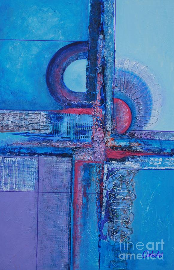 Blues With Purple Abstract by Jean Clarke