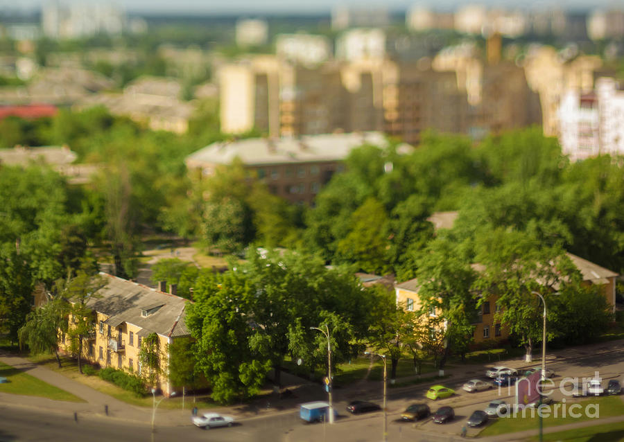 Sunshine Photograph - Blurry Tilt-shift Cityscape Background by Inspired by the light