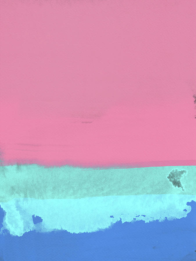Landscape Painting - Blush Pink And Blue Abstract by Naxart Studio